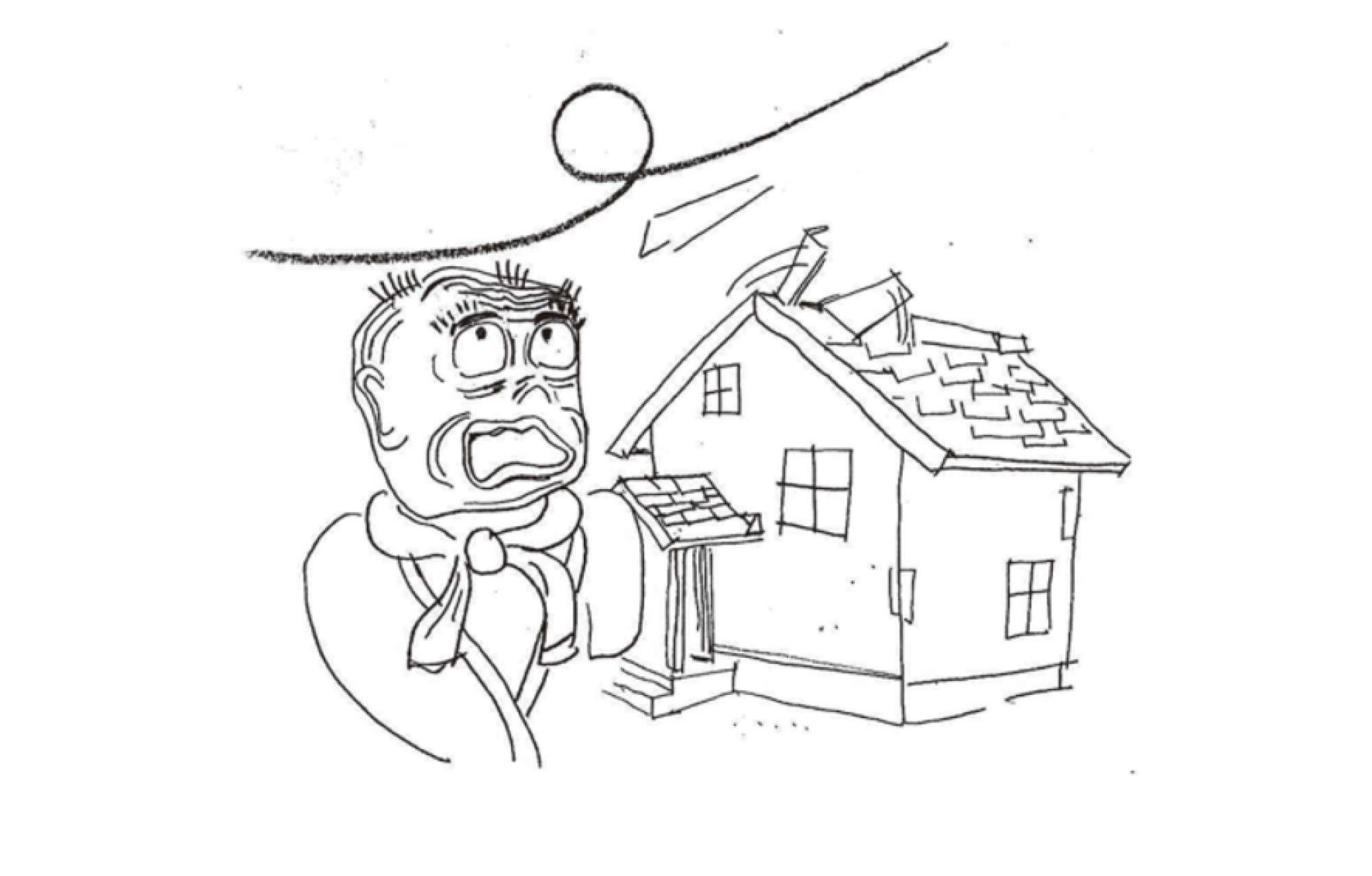 - ある風の強い日にお客様から「大変なんです! 変な音がしたので外に出てみると、屋根のてっぺんのトタンが剥がれかけて飛んでしまいそう!すぐに見に来て!」と電話が。急いで現地に向かい、まさに着いたそのとき、トタンが剥がれて落ちてきました。この住宅は築12年を過ぎていて、トタンを留めている釘も抜けかけて剥がれやすくなっている状態でした。これは大掛かりな足場を作って直さなければなりま せん。結局、半分以上のトタンが剥が れてしまった事件でしたが、なんと火災保険が適用になり、多少の免責はありましたが、お客様の負担はほとんどなく修繕を行うことができました。 (なお、剥がれたトタンが飛んで隣地の物を壊した場合、その保障には、火災保険ではなく賠償保険が必要になります。ご注意ください。)バンバ -  -
