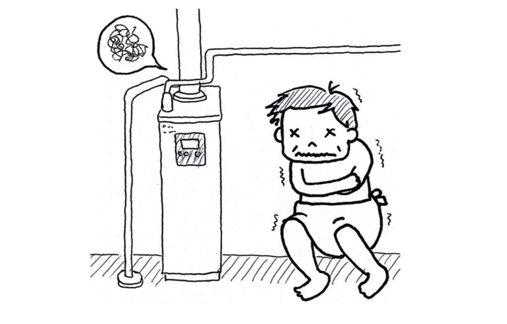 - 3月の下旬、番場自宅の暖房ボイラー(セントラルヒーティング)から不凍液が漏れ、ボイ ラーを設置している2階の脱衣場の床が水びたしになり大慌て。洗面台や洗濯機の下がビショビショになり、1階の部屋の天井にも水がしたたり落ちました。翌日、業者に見てもらったところ、ボイラーはもう寿命とのこと。新しいボイラーを準備するまで5日ほどかかると言われました。3月は暖房なしではまだまだ辛い季節。ボイラーがない間は家じゅうどこにいても寒く、お風呂のために服を脱ぐのも嫌になるほど。結果、その数日間で家族全員がカゼをひいてしまいました。このような万が一に備えて暖をとるための簡易ストーブを用意しておかなければならないなぁ、ということを教訓として学びました。ボイラーは、10年を過ぎたあたりが交換時期といわれています 。(ちなみに自宅のボイラーは、13年使用)。皆さまも、10年をめどに交換を検討したり、交換に備えて費用を準備しておいてはいかがでしょうか。バンバ -  -