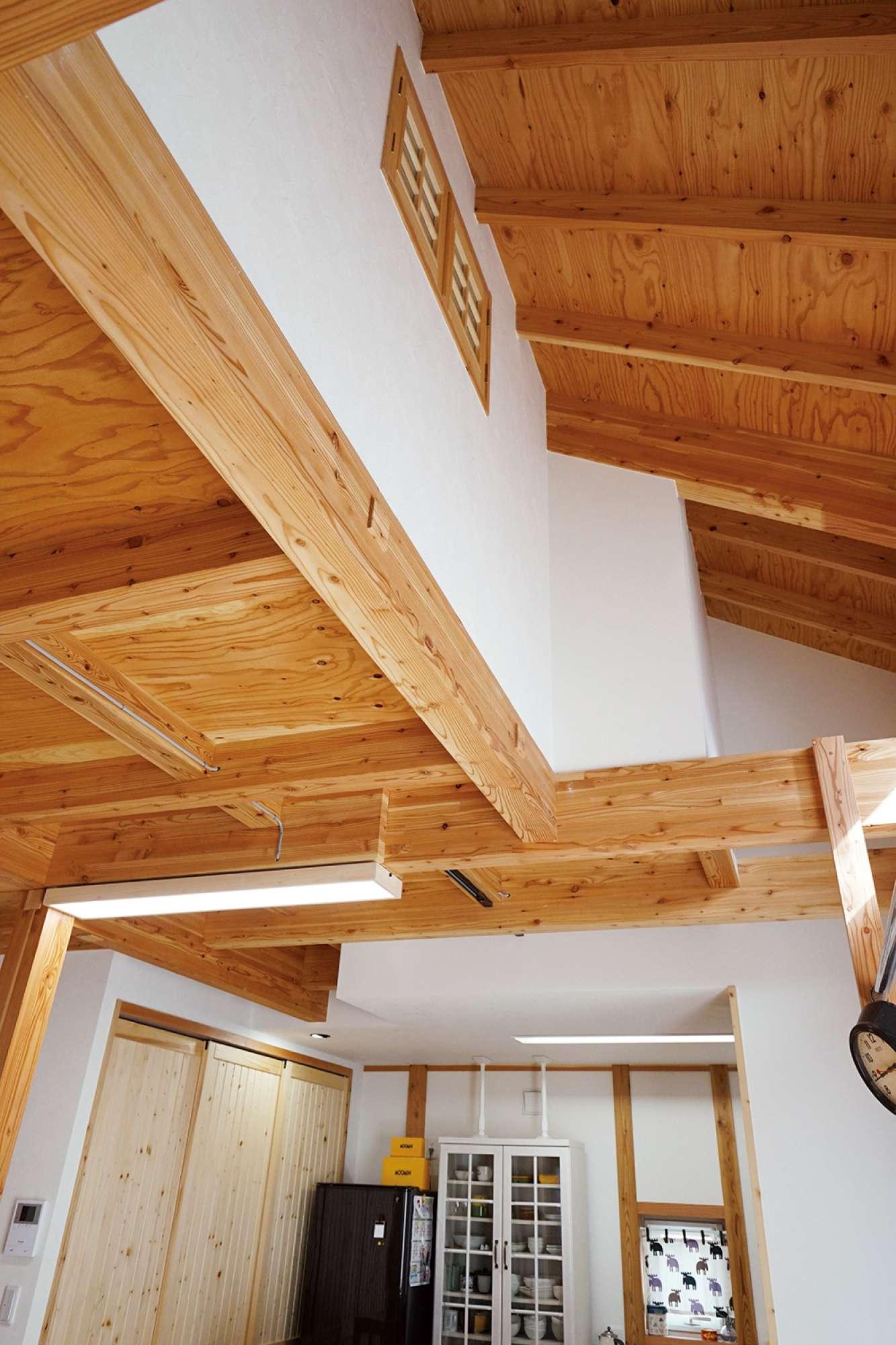 リビングに吹抜けを採用、2階は天井の低いコンパクト設計 -  -  -