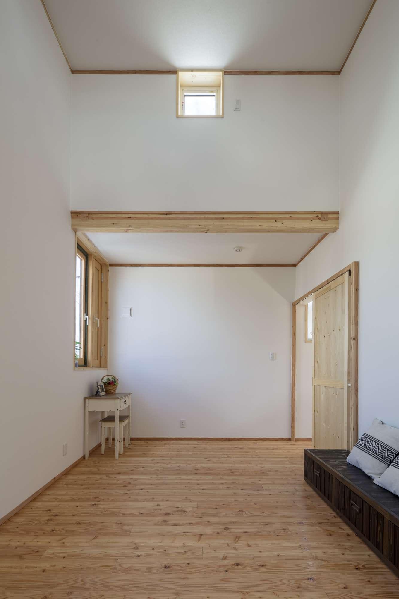天井が高く様々な用途に使用できる空間。間仕切、小屋裏収納スペース造作可 -  -  -