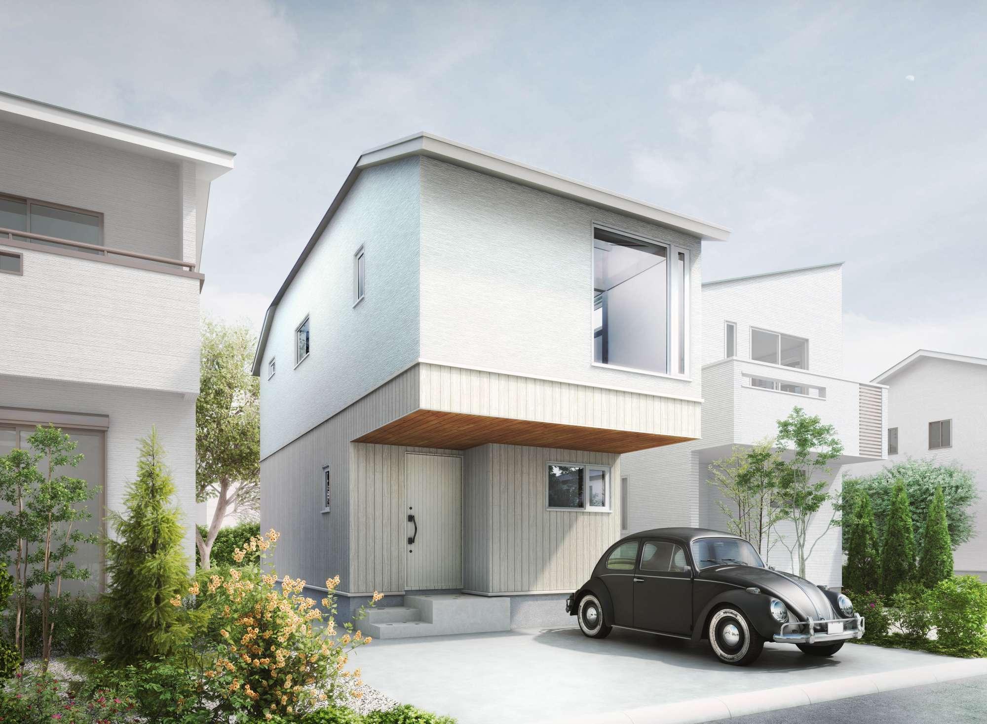 - 外観 イメージパースシンプルでコンパクト木組みの家 -  -
