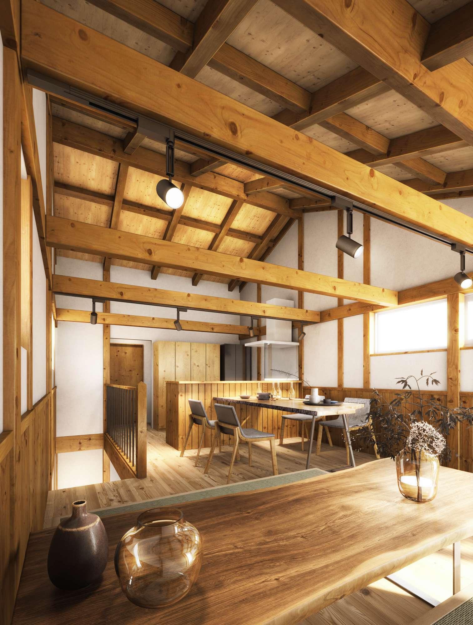 - 室内 イメージパース2階リビングで明るく、天井を高く開放的に -  -