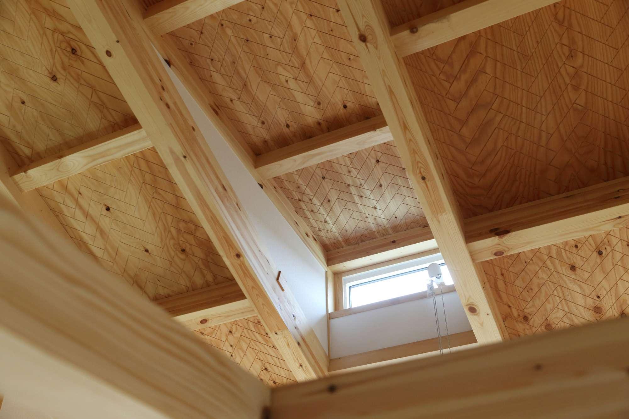 天井はヘリンボーン柄仕上 -  -  -