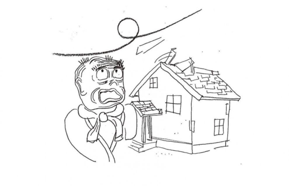 屋根のトタンがふき飛ぶ -